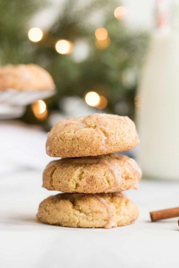 Stack of eggnog snickerdoodle cookies