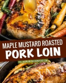 This Maple Mustard Roasted Pork Loin is SO moist and flavorful, you'll definitely want seconds!  A simple brine gives the pork such great flavor and texture.  Perfect for a holiday or weekend dinner! #porkloin #pork #roasted #brine #maple #mustard #holidaydinner #weekenddinner #easyrecipe