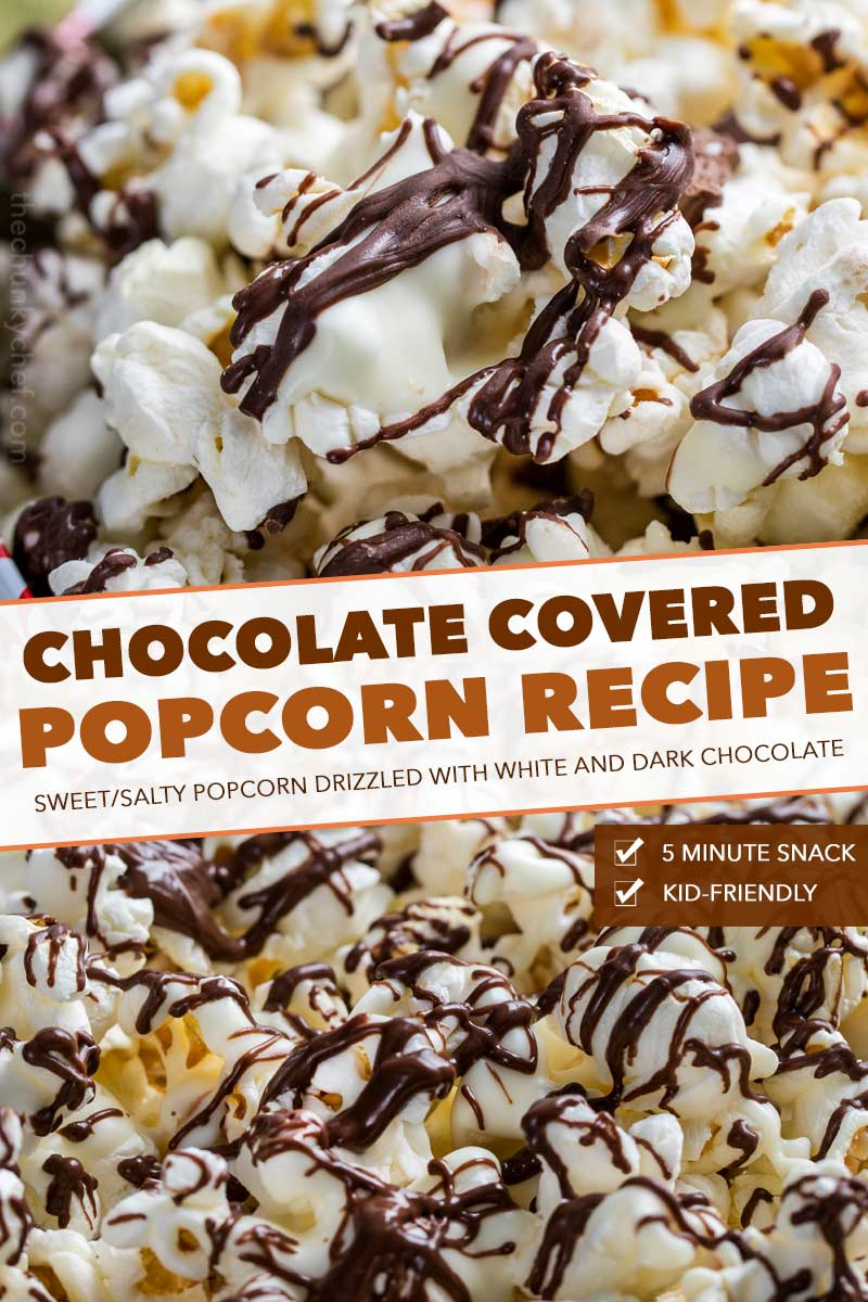 Chocolate covered popcorn made with both white and dark chocolate.  This easy, 5 minute snack recipe is the perfect combination of sweet and salty! #snack #popcorn #chocolate #easyrecipe #zebrapopcorn #popcornrecipe
