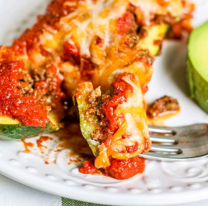 Bite of enchilada zucchini boats