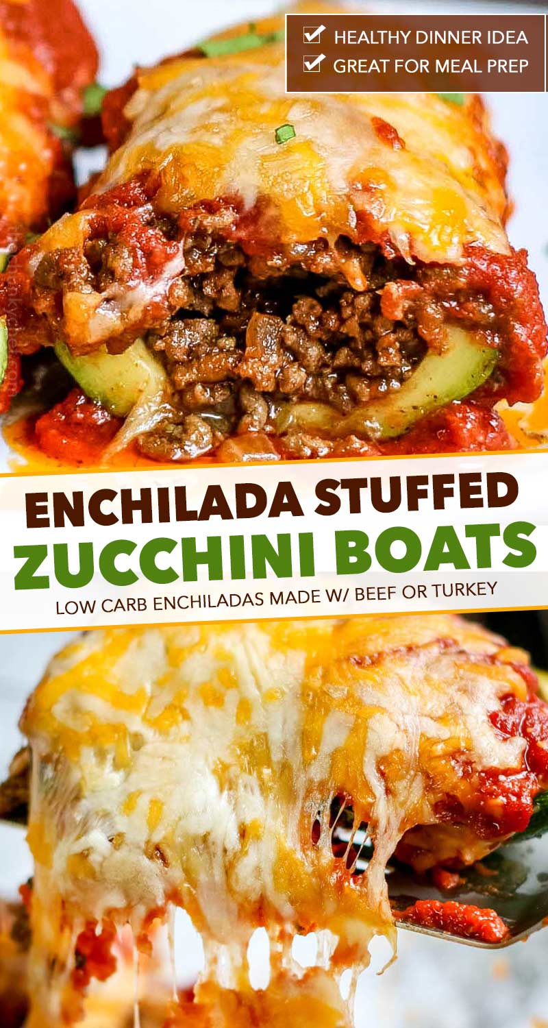 Enchilada zucchini boats are a great family dinner!  Packed with protein and flavor, plus low in carbs, these enchiladas are the perfect healthier dinner recipe! #enchilada #zucchini #stuffed #zucchiniboats #healthyrecipe #easyrecipe #weeknight