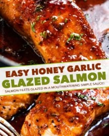 HONEY GARLIC SALMON - Succulent and tender salmon filets cooked in a mouthwatering simple honey garlic sauce, then broiled until sticky and caramelized.  Made with simple ingredients, in one pan, and in just 20 minutes! #salmon #honeygarlic #onepan #easyrecipe #dinner #seafood #fish