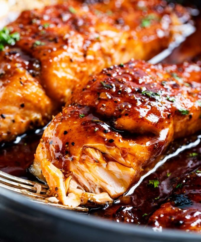 Bite of honey glazed salmon
