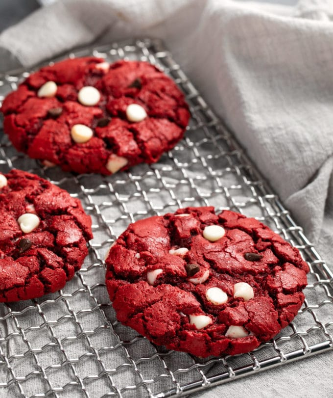 Red velvet cake mix cookies on cooling racks