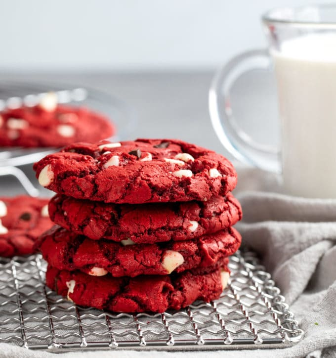 stack of red velvet cake mix cookies