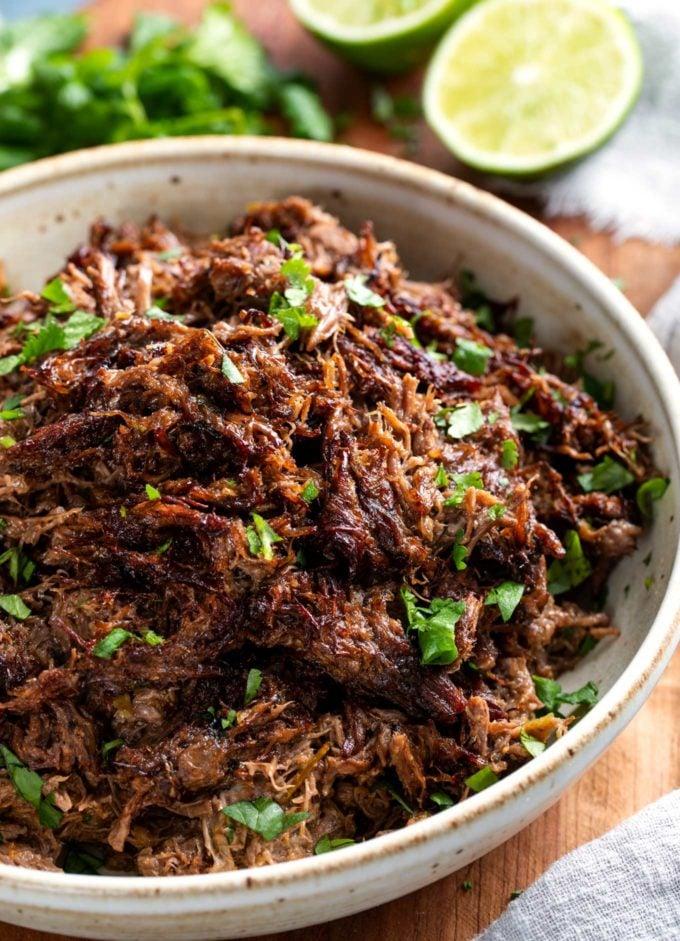 Shredded beef barbacoa in bowl