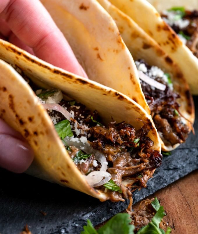 Beef barbacoa in tacos