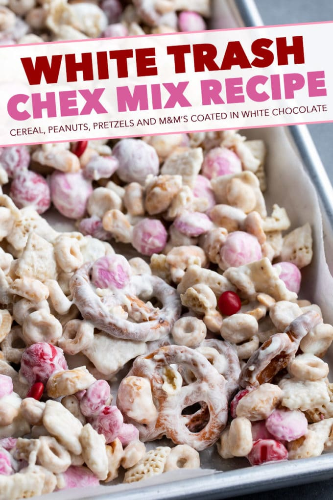 Mix of cereal, pretzels, peanuts, and m&m's, all tossed together with plenty of white chocolate. Perfect no bake recipe, made in less than 10 minutes!  Great for any holiday! #chexmix #snackmix #whitetrash #whitechocolate #trailmix #nobake #dessert #easyrecipe