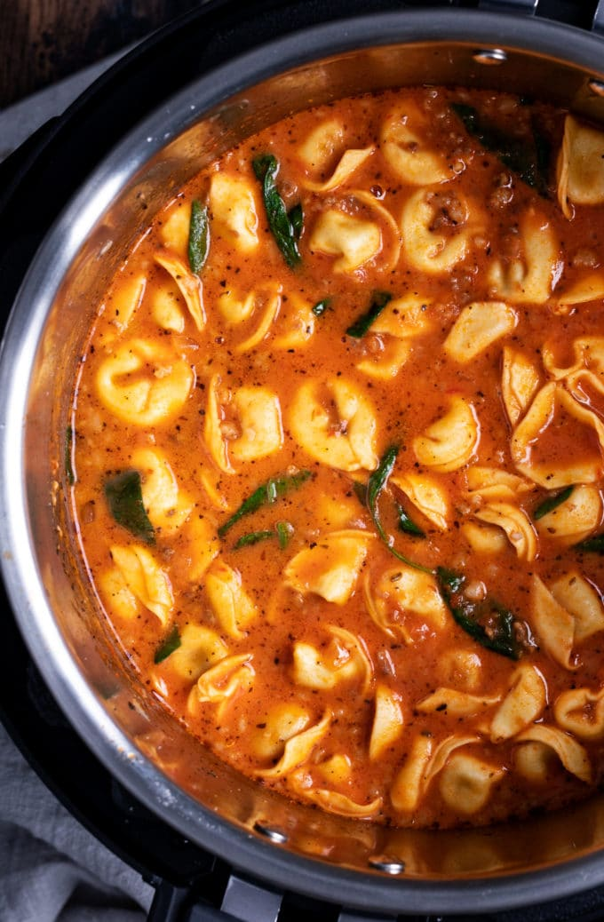 Sausage tortellini soup in the Instant Pot