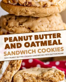 Chewy peanut butter cookies sandwiched together with rich buttercream, and rolled in crushed peanuts! It's a peanut butter lover's dream dessert! #peanutbutter #cookies #dessert #easyrecipe #baking #chewy #oatmeal #sandwich #homemade