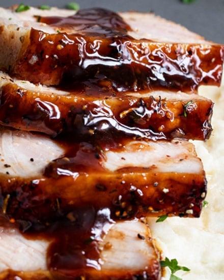 Baked Pork Chops with Bourbon Glaze (30 min recipe) - The Chunky Chef
