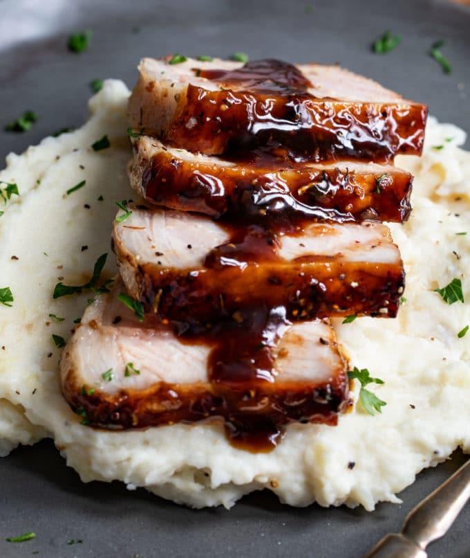 Bourbon glaze over the top of baked pork chops
