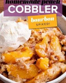 This peach cobbler is made with cinnamon sugared peaches, topped with a buttery shortbread-like topping, then baked to bubbly perfection! Made with fresh, frozen or canned peaches, it's the perfect summer dessert recipe! #cobbler #peach #dessert #dessertrecipe #summer #peaches #southern #easydessert #easyrecipe