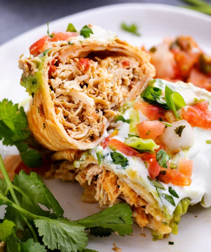 Chicken chimichanga cut in half