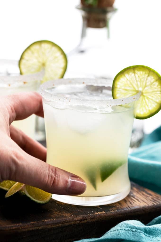 Holding margarita glass