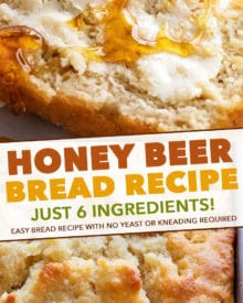 It only takes 6 simple ingredients to make this Honey Beer Bread - and NO yeast!  No rising time, just mix and bake! #beerbread #bread #honey #beer #baking #breadmaking #quickbread #pantry