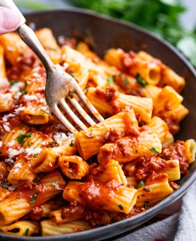 Forkful of pasta with bolognese sauce