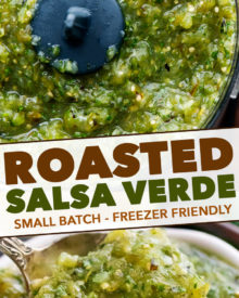 The best salsa verde is made with roasted tomatillos, peppers, onion and garlic! Smoky, a little spicy, slightly sweet, and perfect with salty chips.  Great for Cinco de Mayo, potlucks, enchiladas and more! #salsa #salsaverde #roasted #tomatillo #cincodemayo #chipsandsalsa #mexican #fiesta