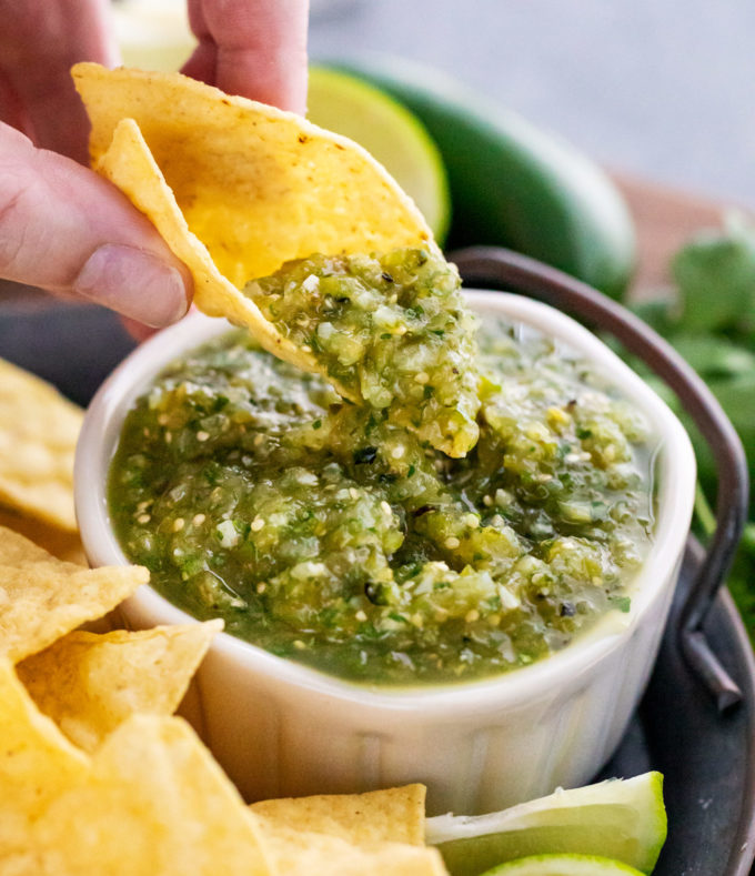 salsa verde on tortilla chip