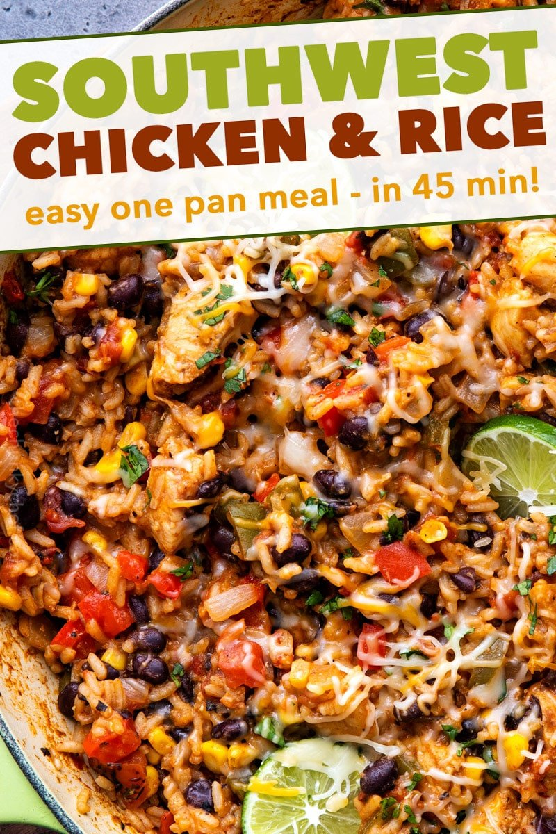 Made entirely in one pan, this Cheesy Southwest Chicken and Rice is bursting with powerful flavors, and ready in 45 minutes or less! Plus plenty of prep-ahead tips to cut down on cooking time! #chicken #rice #southwest #mexican #fajita #onepan #onepot #easyrecipe #dinner #cooking
