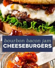 The only thing better than a juicy cheeseburger on a toasted bun, is a juicy cheeseburger topped with homemade bourbon bacon jam! Regular condiments are a thing of the past! #baconjam #cheeseburger #grilling #baconcheeseburgers #bourbon
