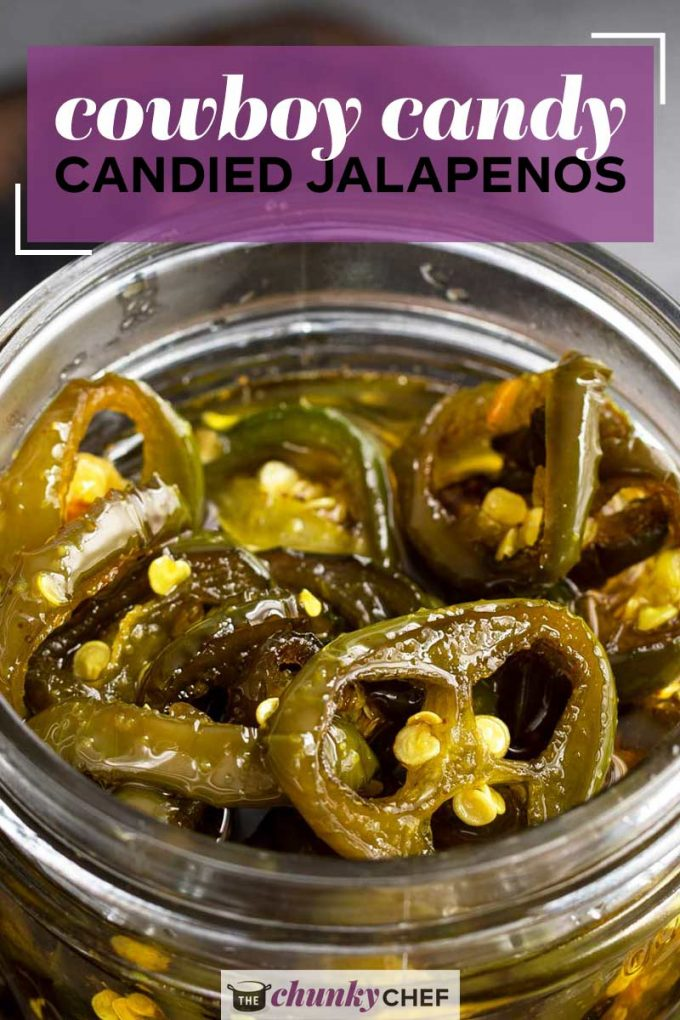 Candied Jalapenos, aka Cowboy Candy are the perfect combination of sweet and spicy! Perfect on burgers, sandwiches, nachos, or just all by themselves! #jalapenos #cowboycandy #candied #sweetheat #sweetandspicy #spicy #hot #condiment #topping