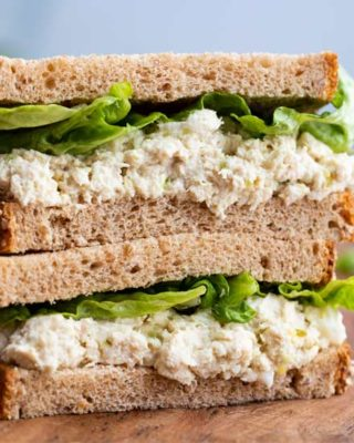 This copycat chicken salad is creamy, savory, a little sweet, and perfect for piling up on some toasted wheat bread sandwiches! #chickensalad #chicken #chickfila #copycat #copycatrecipe #easyrecipe #nocook #lunch #dinner