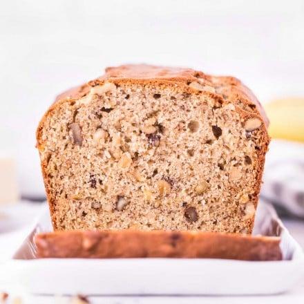 loaf of banana nut bread, sliced