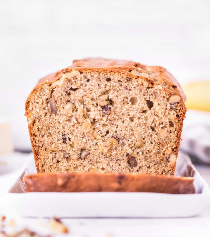loaf of banana nut bread, sliced