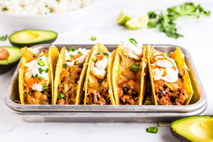chicken tacos in baking dish