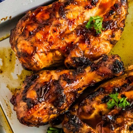 grilled bbq chicken on sheet pan