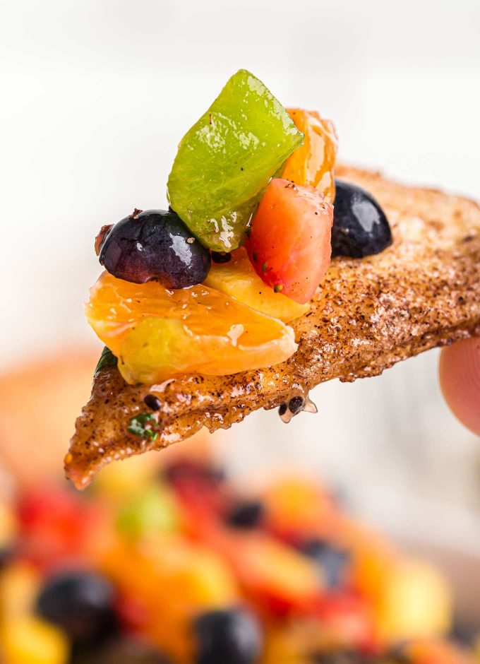 Cinnamon chip with fruit salsa on top
