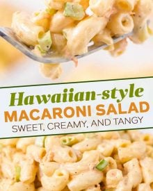 Sweet, tangy, and creamy... with just the right amount of crunch, this Hawaiian Macaroni Salad will become your GO TO macaroni salad recipe for every potluck and summer bbq! #macaronisalad #macaronisaladrecipe #hawaiianmacaronisalad #pastasalad #pastasaladrecipes #sidedish #sidedishrecipes #summerbbq #potluck