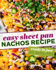 pin image for sheet pan nachos
