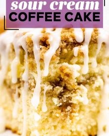 My favorite Sour Cream Coffee Cake is so moist and buttery, with a cinnamon streusel layer in the middle and on top, and drizzled with a sweet glaze. #coffeecake #crumbcake #sourcream #baking #breakfast #dessert #cinnamon #streusel #brunch
