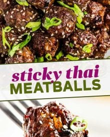 Tender baked meatballs loaded with fresh, bold, Thai flavors, smothered in a sticky sweet/savory sauce that is truly finger-lickin good! Great over rice, in lettuce cups, or enjoyed with just a fork, they're the perfect party appetizer! #thai #meatballs #baked #asian #appetizer #partyfood