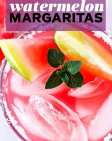 These Watermelon Margaritas are the ultimate refreshing summer drink! Made with just 3 simple ingredients, you'll want a cocktail all summer long! #margaritas #margarita #watermelon #tequila #lime #fresh #melon #summerdrink #drink #cocktail