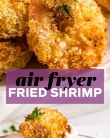 Crispy and juicy fried popcorn shrimp, cooked in just 10 minutes in the air fryer!  Uses so much less oil than deep frying, but has all the amazing crunch you expect from fried shrimp! #shrimp #popcornshrimp #fried #airfryer #airfried #seafood #kidfriendly #dinner #lunch