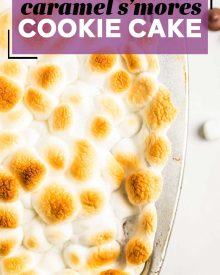 This ooey-gooey Caramel S'mores Cookie Cake has a buttery graham cracker/sugar cookie base, and is topped with melted chocolate and caramel, then topped with delicious toasted marshmallows!  It's the summer dessert you just can't resist!