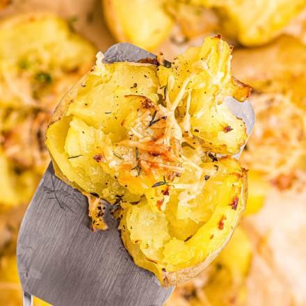 featured image of smashed potatoes on spatula