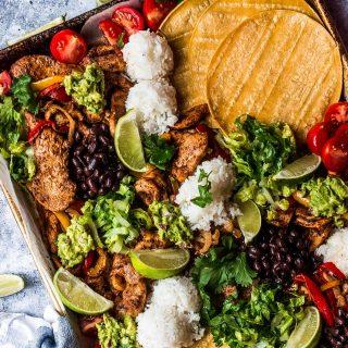 sheet pan chicken fajitas with toppings