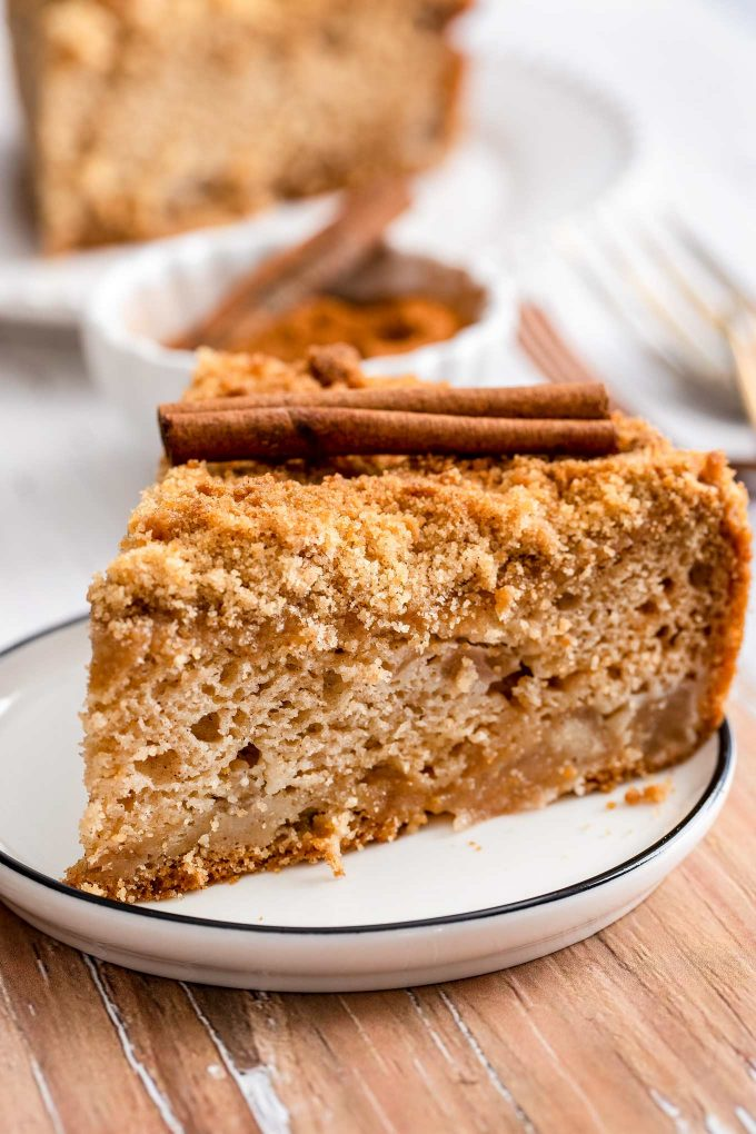 apple cake slice on plate with cinnamon stick on top