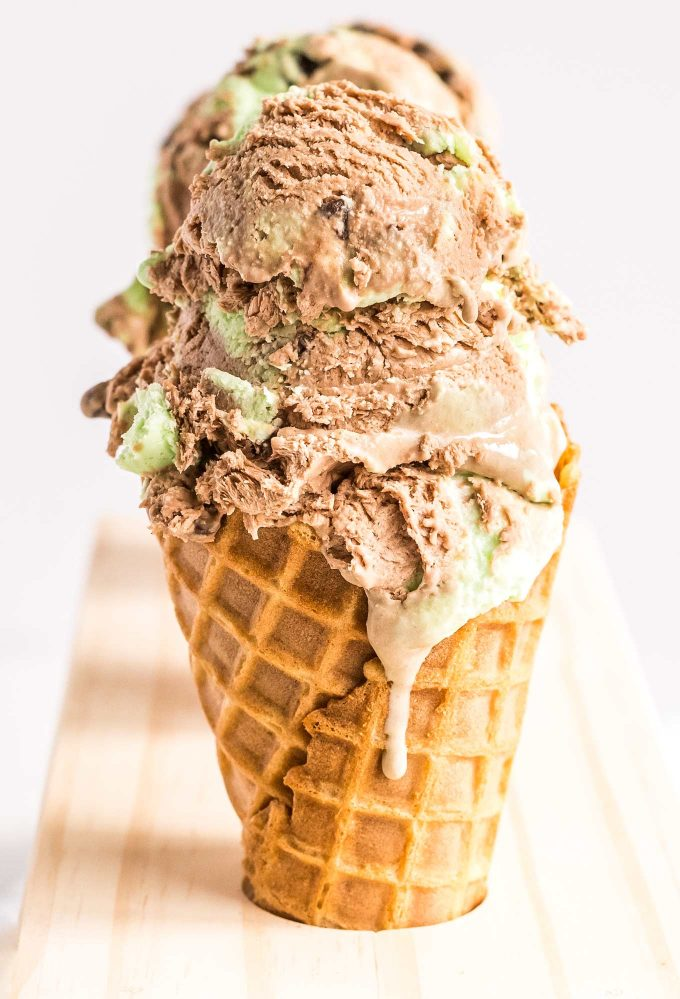 chocolate chip mint ice cream in waffle cone