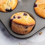bakery style blueberry muffins in muffin pan