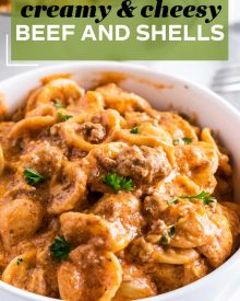 This creamy and cheesy Beef and Shells pasta recipe is the ultimate family comfort food. Perfect for a weeknight dinner idea, it's like a homemade, and way tastier, version of hamburger helper! #beef #pasta #shells #creamy #cheesy #dinner #weeknight #easydinner