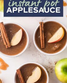 This Instant Pot Applesauce recipe laced with cinnamon and brown sugar, and makes for a fantastic kid-friendly recipe. Just 6 ingredients needed, so you can make this homemade treat over and over again. #applesauce #apples #instantpot #pressurecooker #snack #homemade #fall