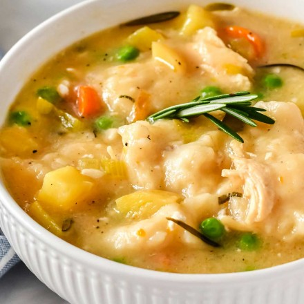 white bowl of chicken and dumplings