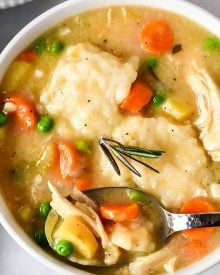 This hearty, old-fashioned chicken and dumplings recipe is always a family-pleasing meal and is ready quickly which makes it a great weeknight dinner option! #chicken #dumplings #chickenanddumplings #instantpot #pressurecooker #weeknight #easyrecipe #dinner