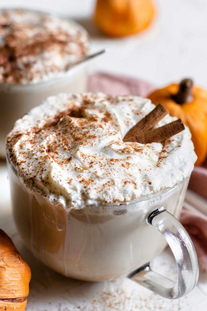 pumpkin latte in glass mug