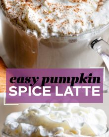 Perfectly spiced and sweetened, this homemade Pumpkin Spice Latte is made with real coffee and pumpkin! Perfect for Fall and Winter and way better than anything store-bought! #pumpkinspice #psl #starbucks #coffee #latte #coffee #drink
